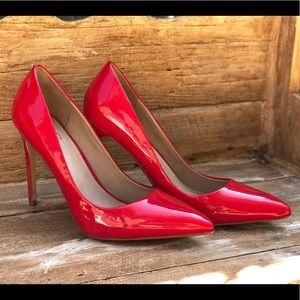 Red Faux Patent Leather- Dignity Pump